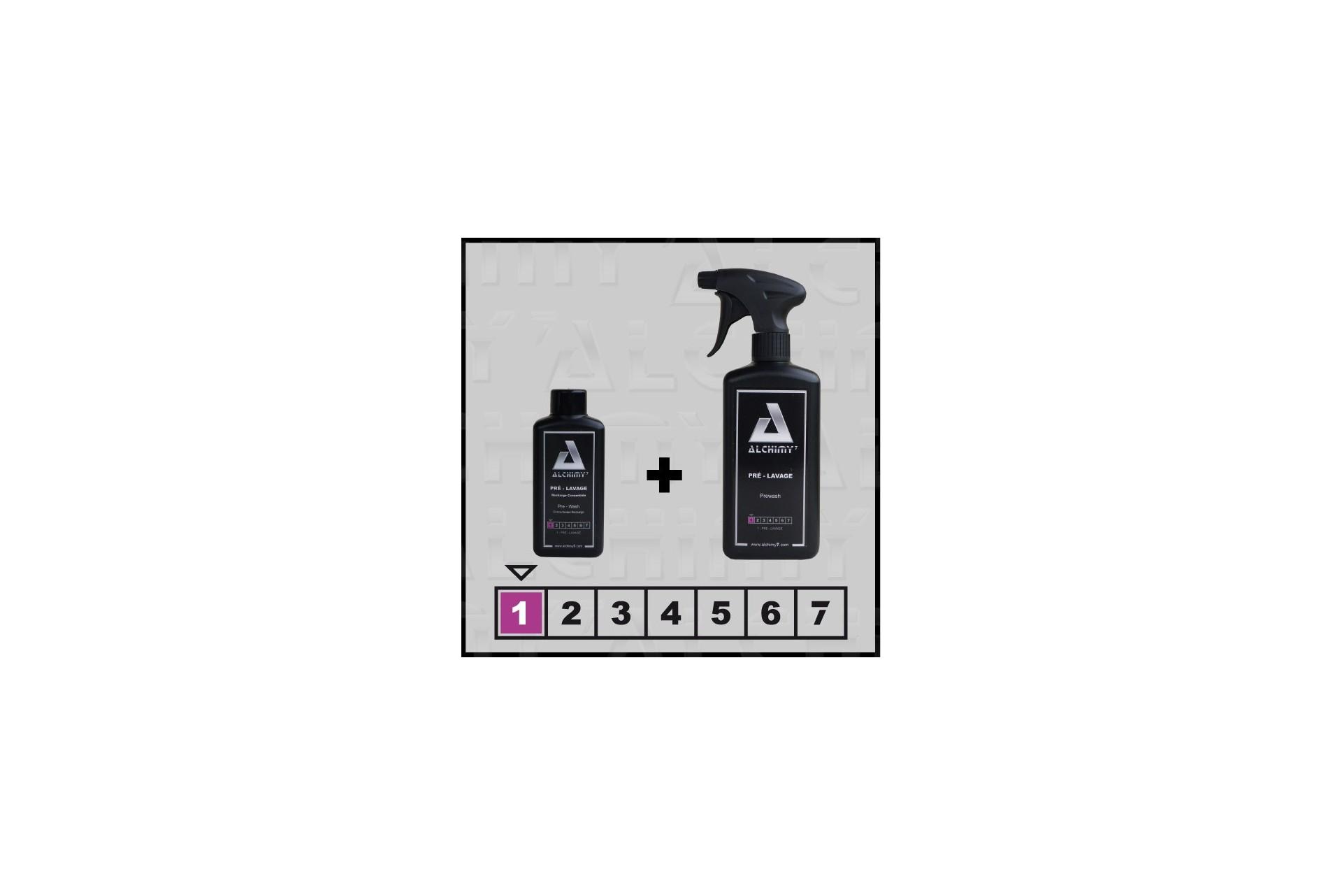 Pré-lavage alchimy⁷ prêt à l'emploi de 470 ml et recharge concentrée de 200 ml